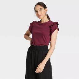 Women's Flutter Short Sleeve Ruffle T-Shirt - A New Day™   Target