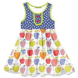 Millie Loves Lily Girls' Casual Dresses - Blue & Light Green Polka Dot Apples Button-Front A-Line Dr   Zulily