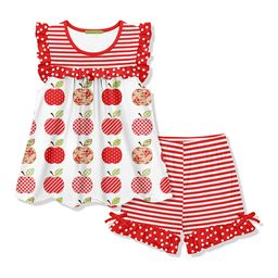Millie Loves Lily Girls' Casual Shorts - Red Stripe Apple Ruffle Angel-Sleeve Top & Stripe Ruffle Sh   Zulily