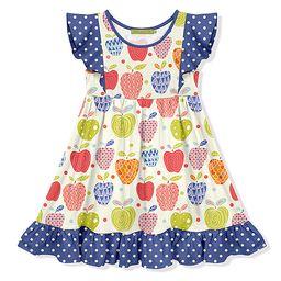 Millie Loves Lily Girls' Casual Dresses - Blue & Ecru Apples Angel-Sleeve Dress - Girls   Zulily