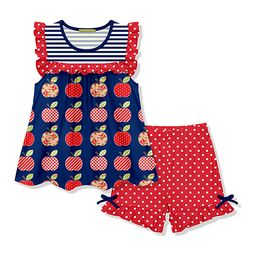 Millie Loves Lily Girls' Casual Shorts - Navy Stripe Apples Angel-Sleeve Top & Red Polka Dot Shorts    Zulily