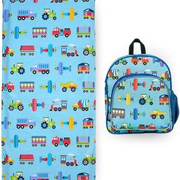 Wildkin 12 Inch Backpack Bundle with Nap Mat Cover (Trains, Planes & Trucks) | Amazon (US)