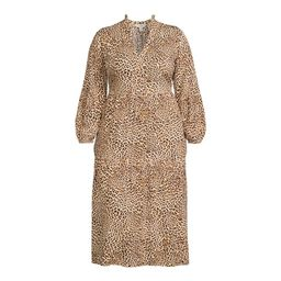 Terra & Sky - Terra & Sky Women's Plus Size Long Sleeve Printed Peasant Midi Dress - Walmart.com | Walmart (US)