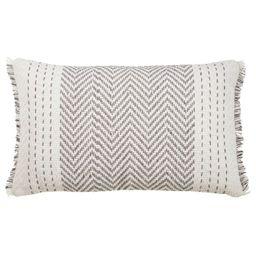 "14""x23"" Oversize Kantha Stitch Lumbar Throw Pillow Cover Gray - Saro Lifestyle   Target"