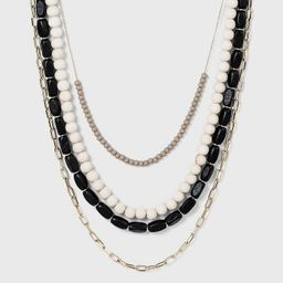 4 Row Long Beaded Necklace - A New Day™ Black   Target