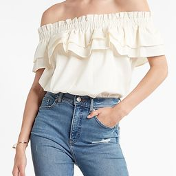 Ruffle Off The Shoulder Thong Bodysuit   Express
