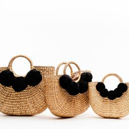 Camryn Tote with Black Pom Poms (Multiple sizes) | Sea & Grass