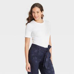 Women's Short Sleeve Rib T-Shirt - A New Day White XXL   Target
