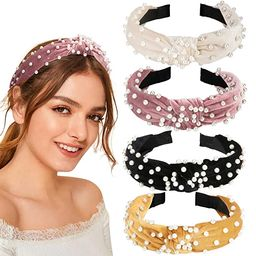 Allucho 4 Pack Velvet Wide Headbands Knot Turban Hairband Vintage Head wrap with Faux Pearl Elast... | Amazon (US)