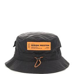 HERON PRESTON BUCKET HAT WITH DRAWSTRING L/XL Black Technical | Coltorti Boutique