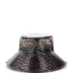 MAISON MICHEL CHARLOTTE LEOPARD PVC BUCKET HAT L Brown, Black | Coltorti Boutique