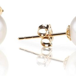 PAVOI 18K Gold Plated Sterling Silver Round Stud White Simulated Shell Pearl Earrings | Amazon (US)