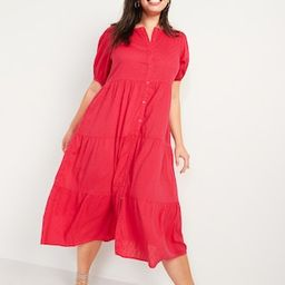 Puff-Sleeve Clip-Dot Button-Front Midi Swing Dress for Women | Old Navy (US)