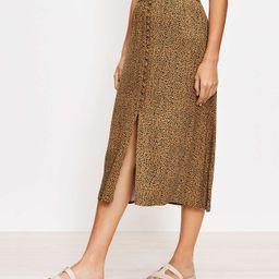 Animal Print Button Pull On Midi Skirt   LOFT