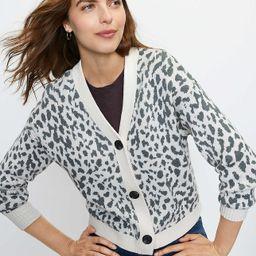Cropped Leopard Print V-Neck Cardigan | LOFT