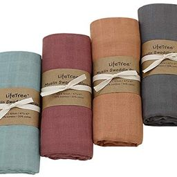 LifeTree 4 Pack Muslin Swaddle Blankets, Soft Solid Baby Swaddle Blankets Muslin Receiving Blanke... | Amazon (US)