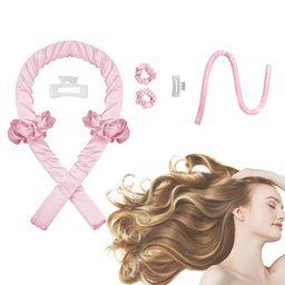 Women Heatless Curling Rod Headband, No Heat Curl Ribbon with Hair Clips and Scrunchie, Sleeping ... | Amazon (US)