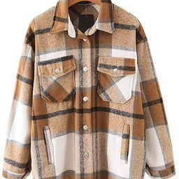 Womens Casual Flannel Wool Blend Plaid Lapel Button Down Long Sleeve Shacket Jacket Coat Winter L...   Amazon (US)