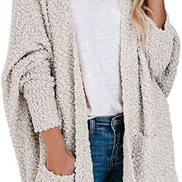 MEROKEETY Women's Long Sleeve Soft Chunky Knit Sweater Open Front Cardigan Outwear with Pockets   Amazon (US)