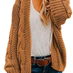 Astylish Womens Open Front Long Sleeve Chunky Knit Cardigan Sweaters Loose Outwear Coat   Amazon (US)