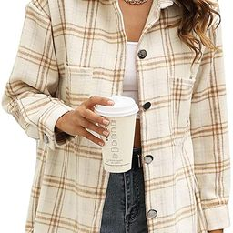 Yeokou Women's Vintage Plaid Flannel Brushed Wool Blend Button Down Shacket Shirts   Amazon (US)