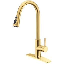 FORIOUS Gold Kitchen Faucets with Pull Down Sprayer, Kitchen Sink Faucet with Pull Out Sprayer, Fing | Walmart (US)