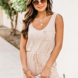 Let's Make Our Escape Taupe Tie Dye Romper FINAL SALE | The Pink Lily Boutique