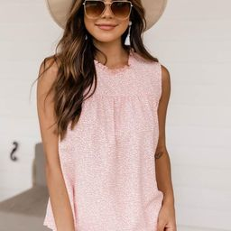 Memorize Yesterday High Neck Spotted Pink Tank FINAL SALE | The Pink Lily Boutique