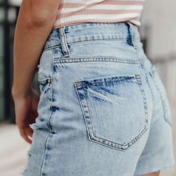 Follow The Light Distressed Button Front Light Wash Shorts FINAL SALE | The Pink Lily Boutique