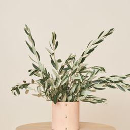 Small Leather Rivet Vase - Natural | Jenni Kayne | Jenni Kayne