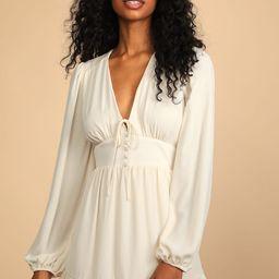 Absolutely Amazing Cream Long Sleeve Skater Mini Dress   Lulus (US)