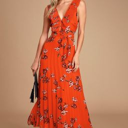 Loved By You Red Orange Floral Print Pleated Chiffon Maxi Dress   Lulus (US)