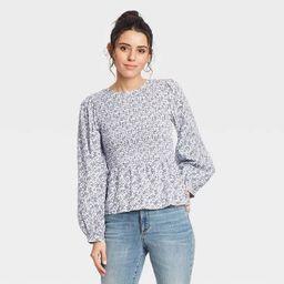 Women's Puff 3/4 Sleeve Smocked Blouse - Universal Thread™ | Target