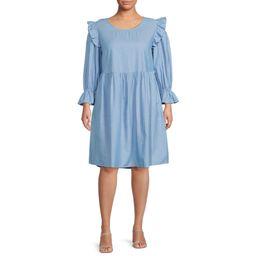 Romantic Gyspy - Romantic Gypsy Women's Plus Size Ruffle Sleeve Chambray Dress - Walmart.com | Walmart (US)