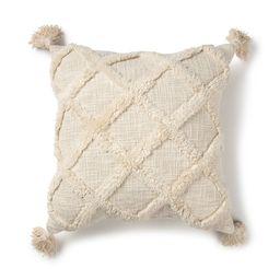 "Better Homes & Gardens Tufted Trellis Decorative Square Throw Pillow, 20"" x 20"", Natural - Walmar... | Walmart (US)"