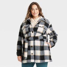 Women's Plus Size Plaid Shirt Shacket - Ava & Viv™   Target