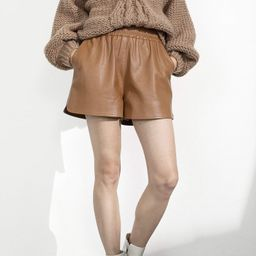 Camille Brown Leather Shorts   J.ING