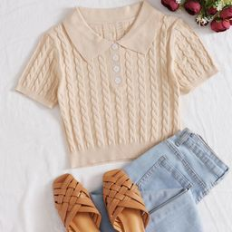 Half Button Cable Knit Crop Top | SHEIN