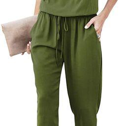 BELONGSCI Women Jumpsuit Strapless Off Shoulder Elastic Waist Stretchy Long Rompers Casual Loose ... | Amazon (US)