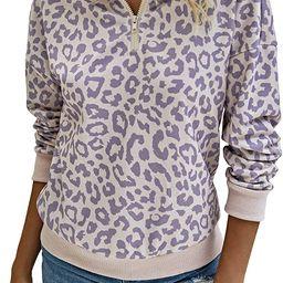 ECOWISH Womens Leopard Sweatshirt Lightweight Zipper Long Sleeve Casual Ladies Sweatshirts Pullov... | Amazon (US)