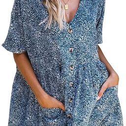 ECOWISH Women's Waffle Knit Casual T-Shirt Dress Short Sleeves Round Neck Tunic Plain Dresses Sol... | Amazon (US)