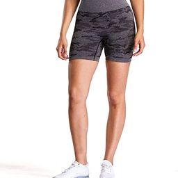Aoxjox Women's High Waisted Tummy Control Workout Yoga Gym Seamless Camo Shorts | Amazon (US)