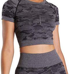Aoxjox Women's Workout Short Sleeve Seamless Camo Crop Top Gym Sport Shirts | Amazon (US)