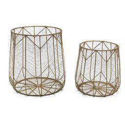Handmade Chevron Wire 2 Piece Basket Set, Brass by Drew Barrymore Flower Home | Walmart (US)