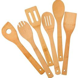 Zhuoyue Kitchen Cooking Utensils Set, 6 Pcs Bamboo Wooden Spoons & Spatula Kitchen Cooking Tools ... | Amazon (US)