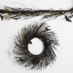 Pre-Lit Black Glitter Branch Wreath and Garland with Bats | Pottery Barn (US)