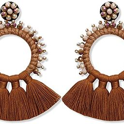 Large Beaded Hoop Tassel Earrings - Big Boho Statement Fringe Dangle Earrings for Women, Bohemian... | Amazon (US)