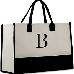Personalized Gift Monogram Initial 100% Cotton Two Tone Chic Tote Bag with Customize Option - Bla... | Amazon (US)