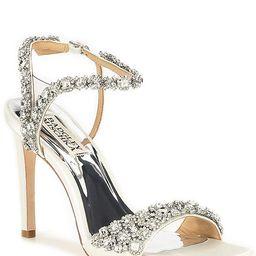 Galia Square Toe Crystal Jeweled Satin Dress Sandals | Dillards