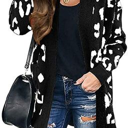 ZESICA Women's Long Sleeves Open Front Leopard Print Knitted Sweater Cardigan Coat Outwear with P... | Amazon (US)
